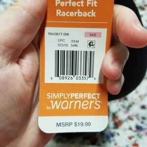 Warner's Intimates & Sleepwear - Perfect Fit Racerback Bra in Black & Gold